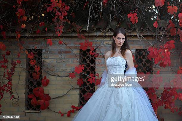 the bride with red ivy - poison oak stock pictures, royalty-free photos & images