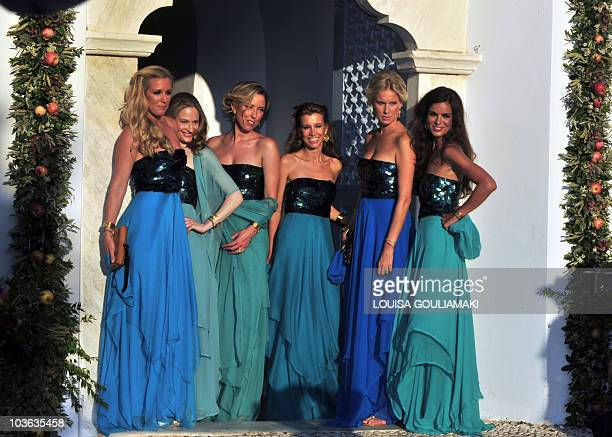 The bridemates pose in front of the church prior to the wedding of Prince Nikolaos and Miss Tatiana Blatnik at the island of Spetses on August 25...