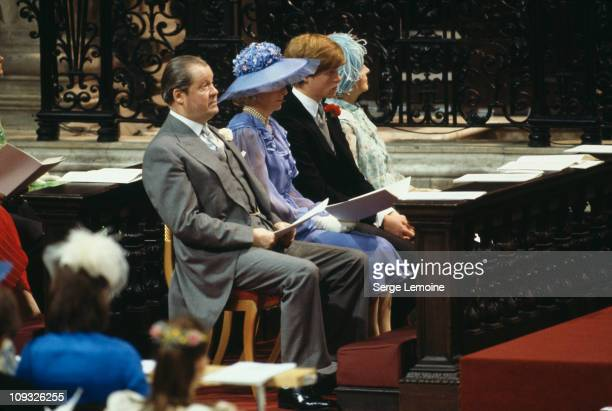 The bride's family attend the wedding of Prince Charles and Lady Diana Spencer at St Paul's Cathedral in London, 29th July 1981. From left to right,...