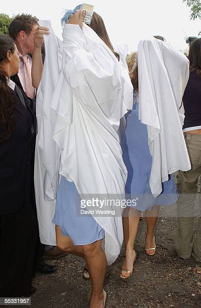 The Bridesmaids arrive for the wedding of model Jodie Kidd and internet tychoon Aidan Butler at Tineham Church in West Sussex on September 10 England