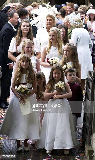 The bridesmaids arrive for the wedding of Tom ParkerBowles son of Camilla Duchess of Cornwall to Sara Buys at the St Nicholas Church in...