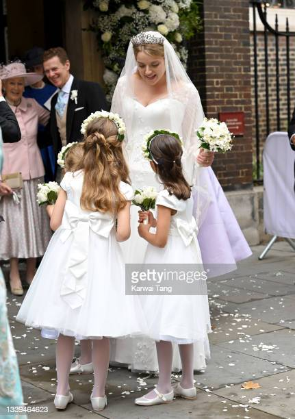 The bridesmaids at Flora Alexandra Ogilvy and Timothy Vesterberg's marriage blessing at St James's Piccadilly on September 10, 2021 in London,...