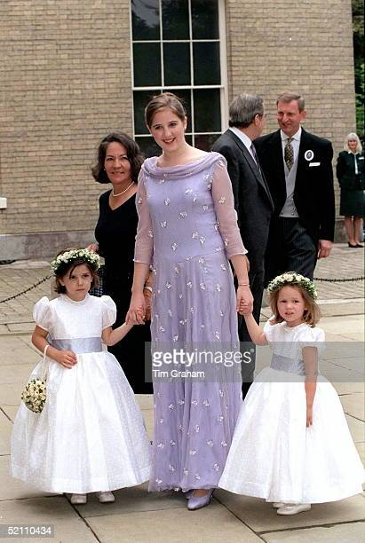 The Bridesmaids Princess Theodora Princess Mariaolympia And Princess Mafalda Arriving For The Wedding Reception For Princess Alexia Of Greece And...