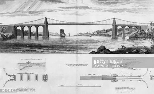 The bridge across the Menai Strait Wales designed by Thomas Telford and completed in 1826 United Kingdom 19th century