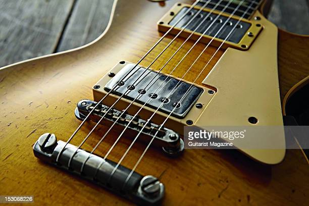The bridge an pickups of a 1959 Gibson Les Paul Standard electric guitar owned by English rock guitarist Bernie Marsden famous for his work with the...