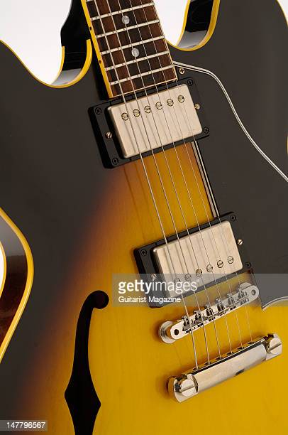 The bridge and pickups of a Gibson 2008 '58 ES335 electric guitar during a studio shoot for Guitarist Magazine/Future via Getty Images October 22 2008