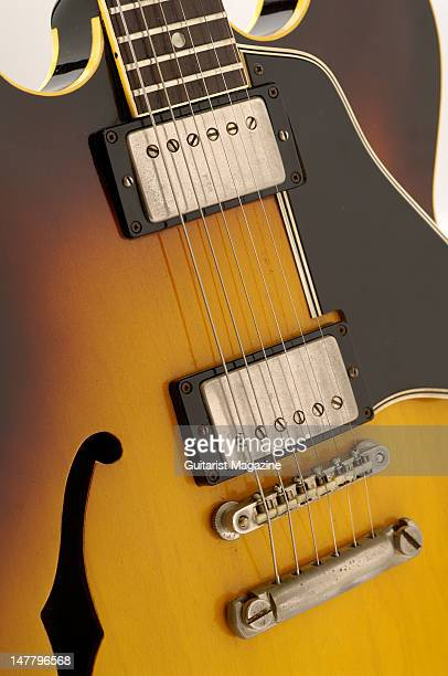 The bridge and pickups of a Gibson Original 1961 ES335 electric guitar during a studio shoot for Guitarist Magazine/Future via Getty Images October...