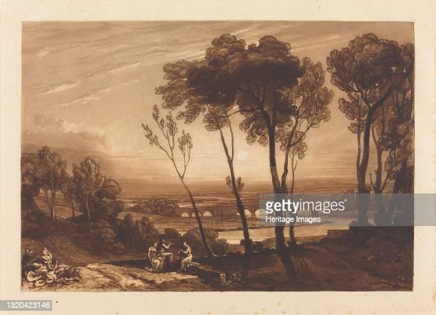The Bridge in Middle Distance, published 1808. Artist JMW Turner.