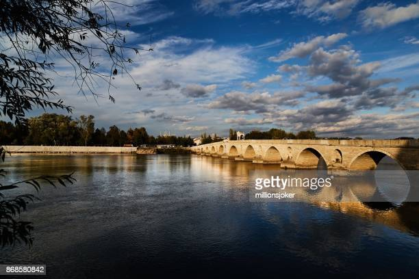 the bridge of meric river  edirne, turkey - selimiye mosque stock pictures, royalty-free photos & images