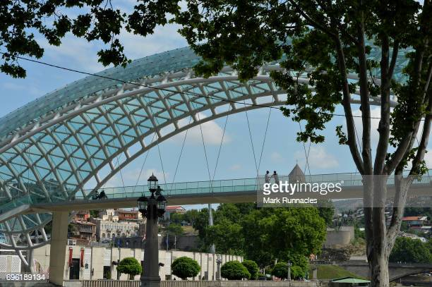 The Bridge of Peace over the Mtkvari river on June 14 2017 in Tbilisi Georgia The 2017 World Rugby Under 20 Championship are taking place in June in...