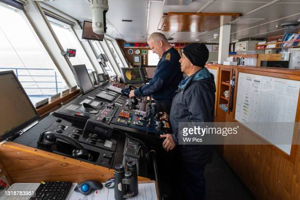 The bridge of the Ocean Adventurer cruise ship while saling along the Polar Ice cap on the north of Spitsbergen, Norway..
