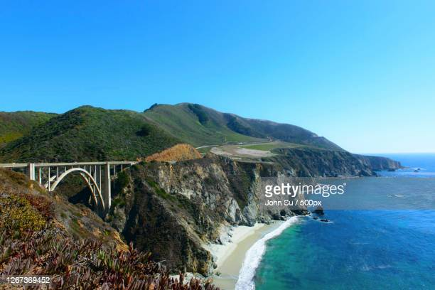 the bridge on the cliff, carmel valley village, united states - pebble beach california stock pictures, royalty-free photos & images