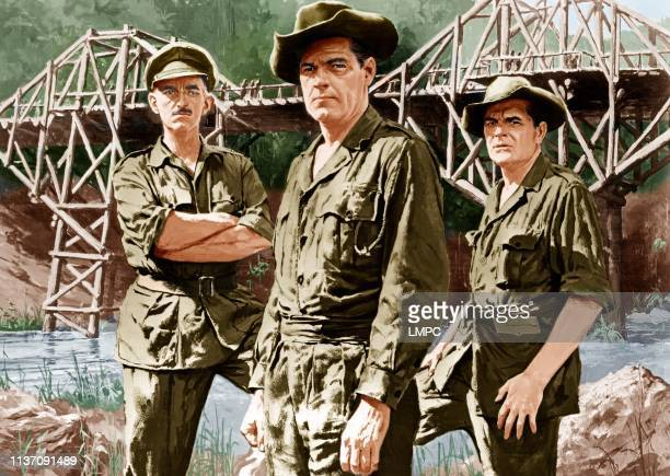 The Bridge On The River Kwai, poster, from left: Alec Guinness, William Holden, Jack Hawkins, 1957.