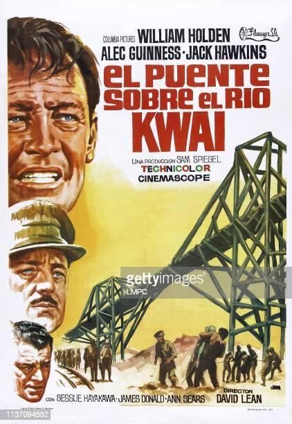 The Bridge On The River Kwai, poster, , top to bottom: William Holden, Alec Guinness, Jack Hawkins, 1957.