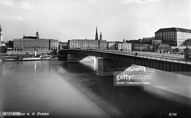 The bridge over the river Danube in the middle of Linz the historic city Linz Austria 1936