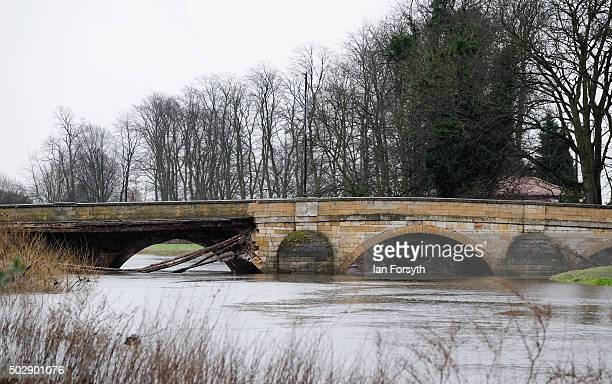 The bridge over the River Wharfe in Tadcaster which collapsed after heavy flooding on December 30 2015 in Tadcaster England Heavy rain over the...