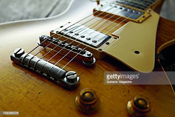 The bridge pickups and tone controls of a 1959 Gibson Les Paul Standard electric guitar owned by English rock guitarist Bernie Marsden famous for his...
