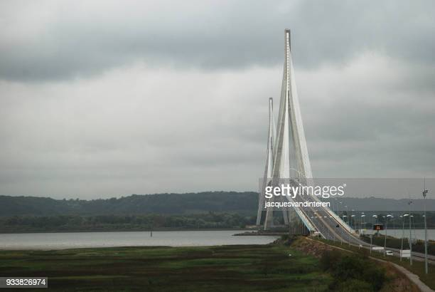 the bridge to normandy - pont de normandie - man made structure stock pictures, royalty-free photos & images