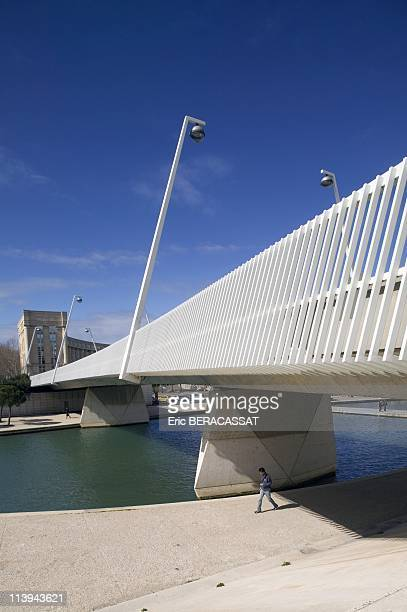 The Bridge Zuccarelli On The Banks Of Lez District Antigone Montpellier Herault In France On March 09 2006The Bridge Zuccarelli Spans The Lez And...