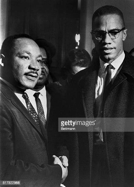 The brief and only meeting between Malcolm X and Martin Luther King in the halls of the US Capitol observing a Senate filibuster on the Voting Rights...