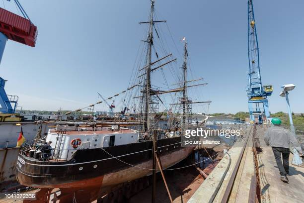 The brig 'Roald Amundsen' lies in the dry dock in the Lindenau shipyard where it is undergoing refurbishment until 27 May 2016 in KielGermany 12 May...