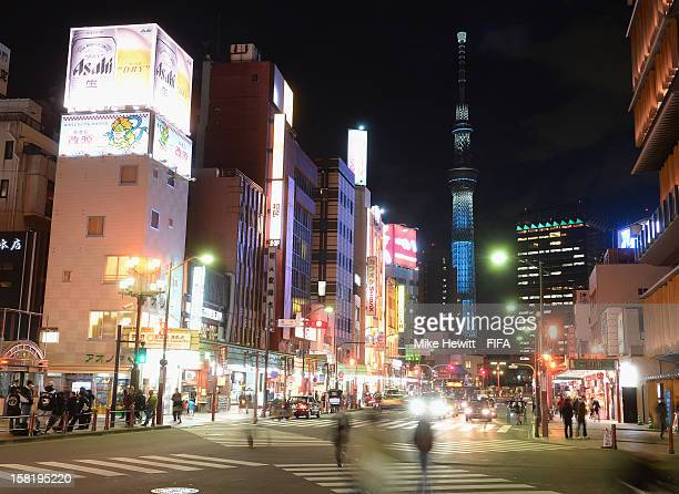 The bright lights of Asakusa with the Tokyo SkyTree in the background on December 11 2012 in Tokyo Japan