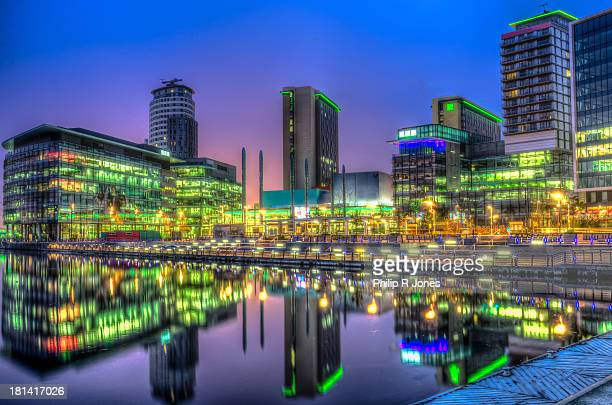 the bright lights of media city - manchester england stock-fotos und bilder