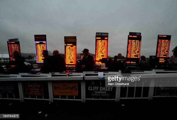 The bright lights of the odds on the bookmakers boards on a gloomy day at Ludlow racecourse on October 25 2012 in Ludlow England