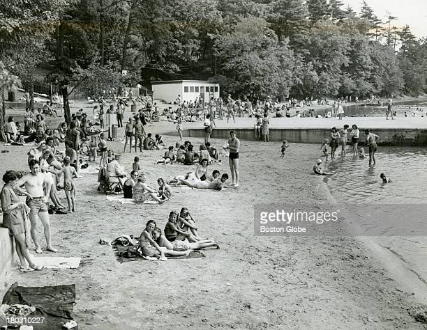 The bright sands alive with sunbathers on warm summery days made an animated scene against the cool backdrop of trees