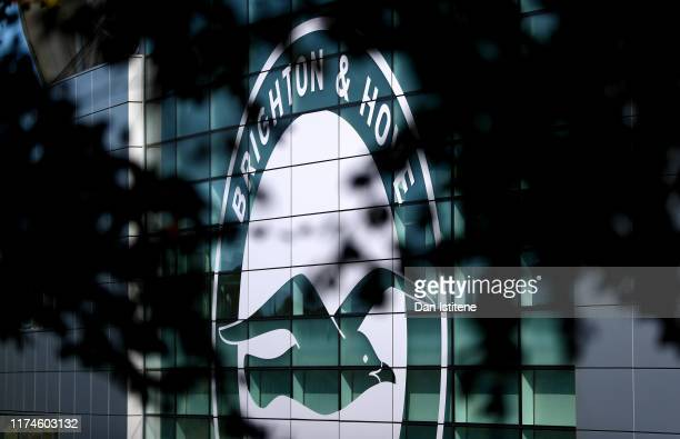 The Brighton and Hove Albion logo is seen through some tree branches prior to the Premier League match between Brighton Hove Albion and Burnley FC at...