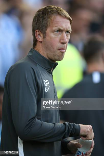 The Brighton Hove Albion Head Coach Graham Potter looks on prior to the PreSeason Friendly match between Brighton Hove Albion and Valencia at Amex...