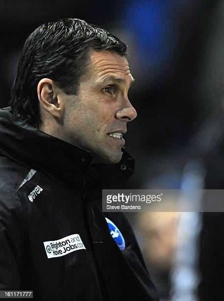 The Brighton Hove Albion manager Gus Poyet during the npower Championship match between Brighton Hove Albion and Hull City at Amex Stadium on...
