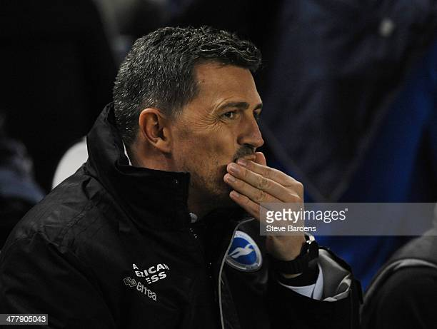 The Brighton Hove manager Oscar Garcia looks on before the Sky Bet Championship match between Brighton Hove Albion and Queens Park Rangers at Amex...