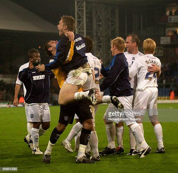 The Brighton players celebrate their teams victory after the CocaCola Championship match between Crystal Palace and Brighton and Hove Albion at...
