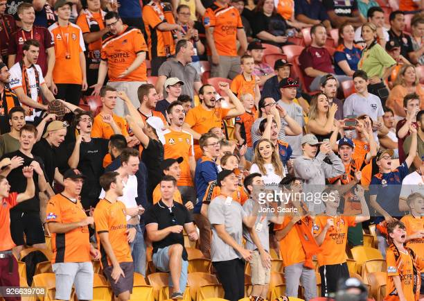 The Brisbane crowd react during the round 22 ALeague match between the Brisbane Roar and Adelaide United at Suncorp Stadium on March 3 2018 in...