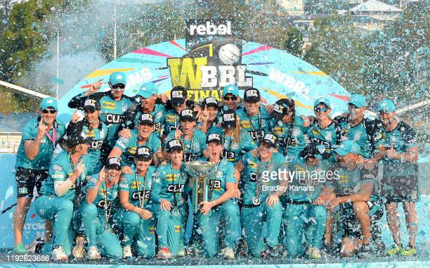 The Brisbane Heat celebrate victory after the 2019 Women's Big Bash League Final match between the Brisbane Heat and the Adelaide Strikers at Allan...