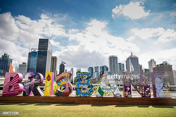 The Brisbane sign at Southbank which is part of the G20 Cultural Celebtrations on November 10 2014 in Brisbane Australia The G20 summit will be held...