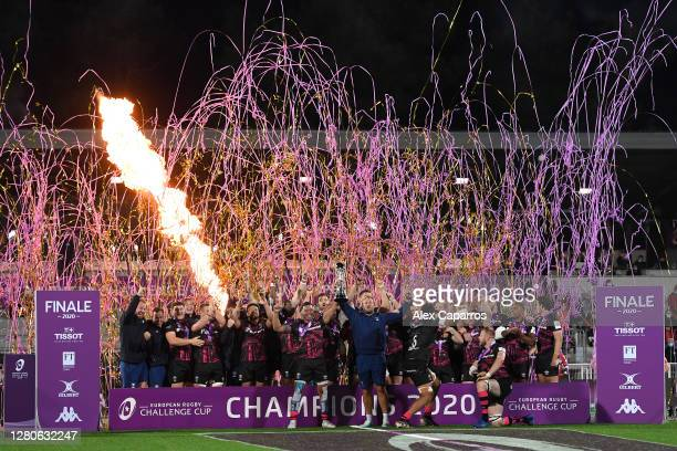 The Bristol Bears celebrate as they lift the Challenge Cup Trophy following victory during the European Rugby Challenge Cup Final between Bristol...