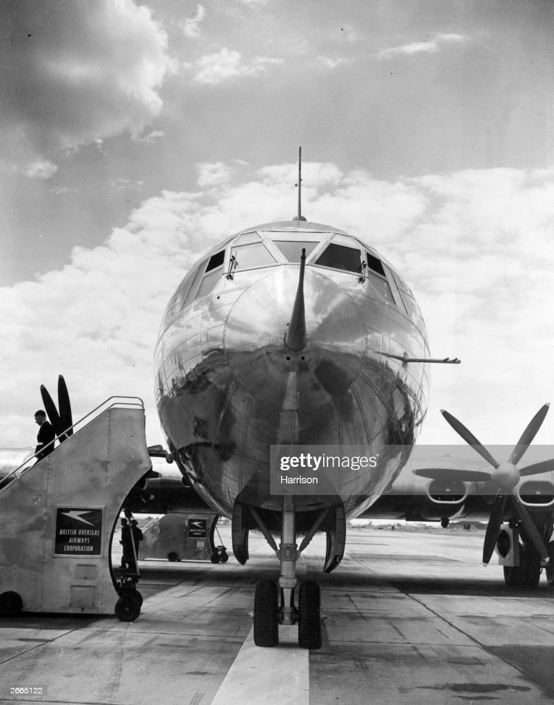 The Bristol Brabazon I, the world's largest airliner, at London Airport.