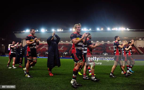 The Bristol Rugby players applaude the fans at the final whistle during the Greene King IPA Championship match between Bristol Rugby and Cornish...