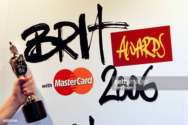 The Brit award and logo are displayed at the shortlist announcement for The Brit Awards 2006 with Mastercard which take place on February 15 at Earls...
