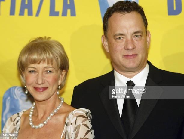 The Britannia Award for Artistic Excellence in International Entertainment recipient Helen Mirren and Tom Hanks recipient of the Stanley Kubrick...