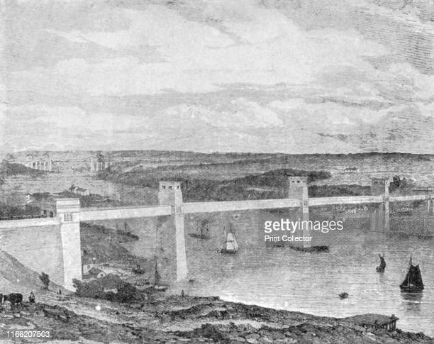 The Britannia Tubular Bridge across the Menai Strait 1850 Built by Robert Stephenson' View of the Bridge designed by engineer Robert Stephenson...