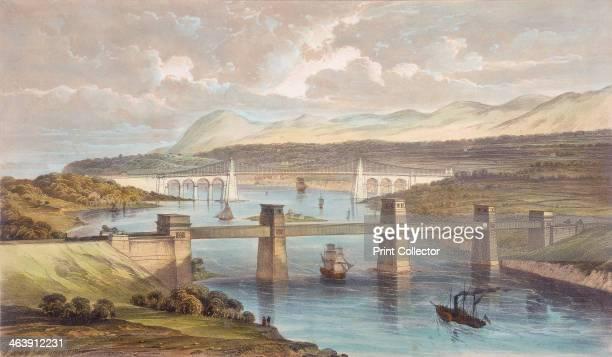 The Britannia Tubular Bridge Menai Strait Wales c1850 The Britannia Tubular Bridge with the Menai Suspension Bridge a road bridge of 1826 in the...