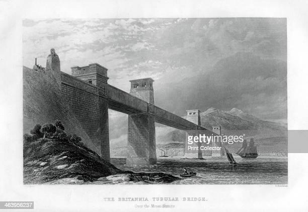 The Britannia Tubular Bridge over the Menai Straits, Wales, 1886. George Stephenson's bridge across the Menai Strait between the island of Anglesey...