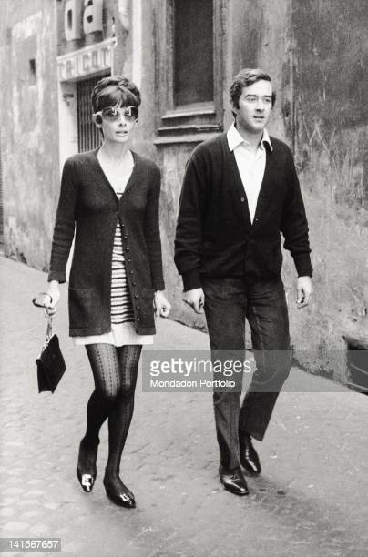 The British actress Audrey Hepburn walking with her husband Andrea Dotti Rome 1970s