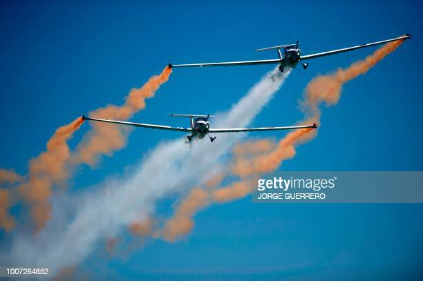 The British Aerosparx team perform during the 2018 International Torre del Mar Airshow on July 29 2018
