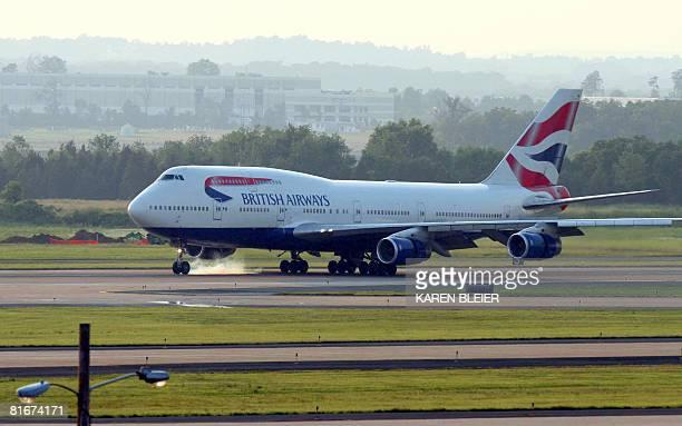 The British Airways 747 lands at Washington/Dulles International Airport in this June 21 2008 photo AFP PHOTO/Karen BLEIER