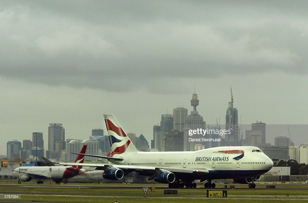 The British Airways BA16 aircraft transporting the England Rugby team taxis down the runway during the departure of the England Rugby team at Sydney International Airport November 24, 2003 in Sydney, Australia. (Photo by Daniel Berehulak/Getty Images) The England Rugby Team depart Sydney victorious after winning the Rugby World Cup defeating Australia 20:17 in the final.