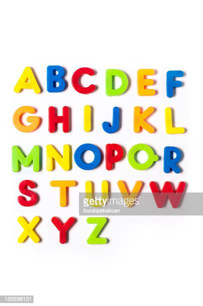 the british alphabet letters in plastic toy characters, white background - font stock pictures, royalty-free photos & images